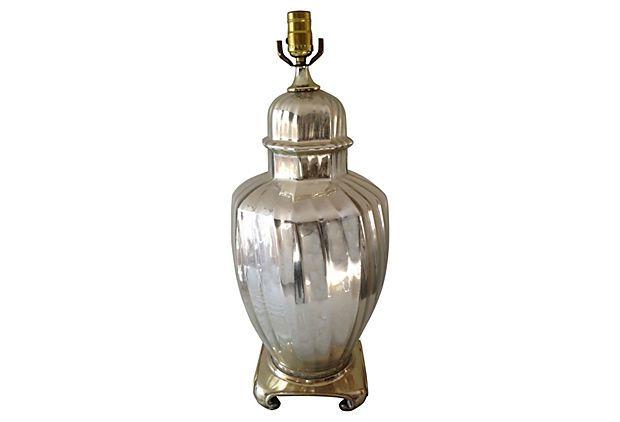 Vintage Mercury Glass Ginger Jar Lamp on OneKingsLane.com.  145$