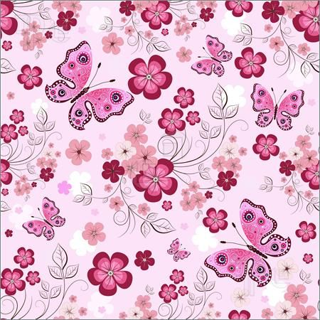 Pink Flower Border | Pink seamless floral pattern with ...