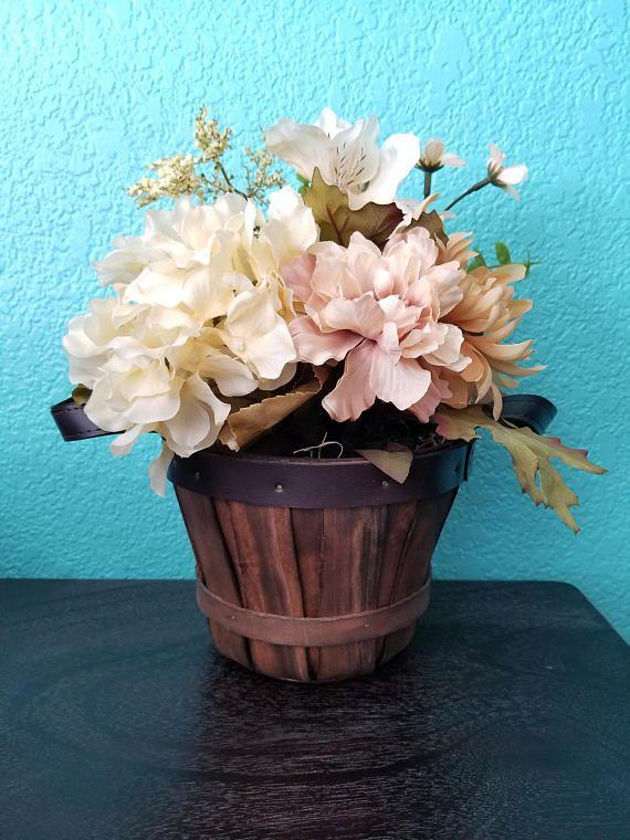 Fall Apple Basket Centerpiece Floral Arrangement | Basket ...