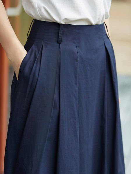 4dcac1dd21 Pockets Folds Solid Cotton Casual A-line Midi Skirt | wish list ...