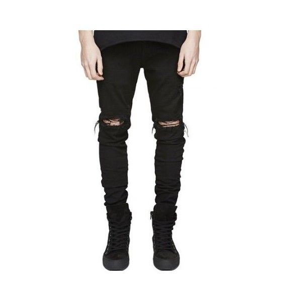Knee Holes Frayed Zipper Fly Narrow Feet Ripped Jeans ($27) ❤ liked on Polyvore featuring jeans