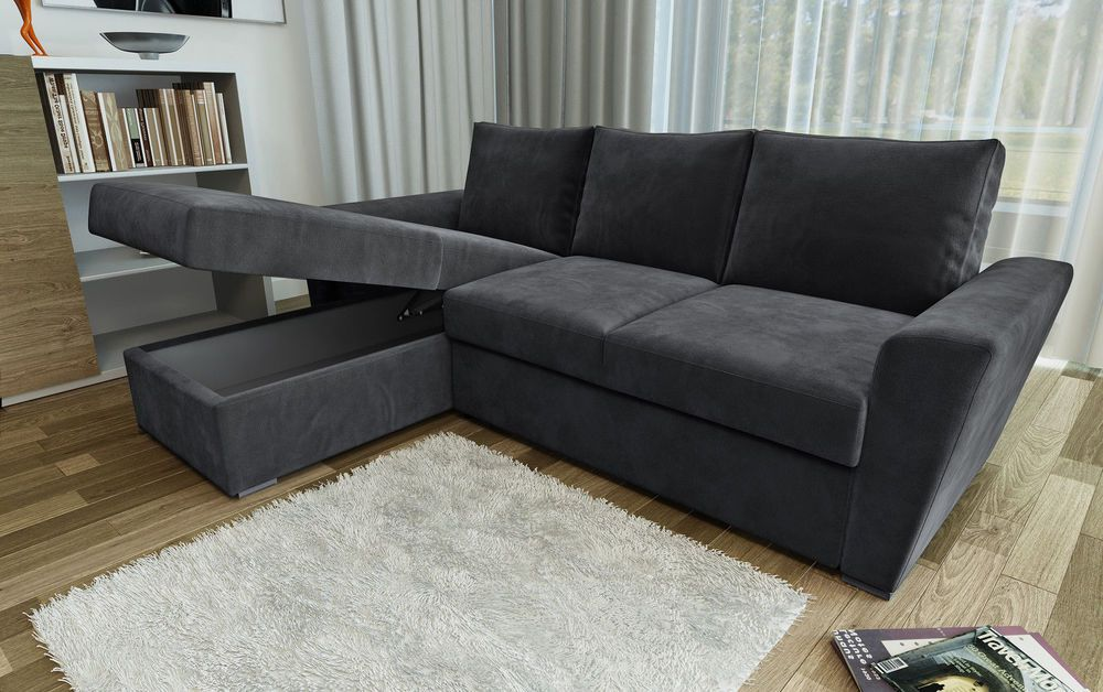 Ravena 2 Seater Or Stanford L Shape Sofa Beds In Chenille Fabric Charcoal Grey Cuartos