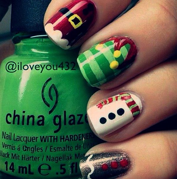 Very festive right (: ! | Nails | Pinterest | Manicuras, Uñas lindas ...