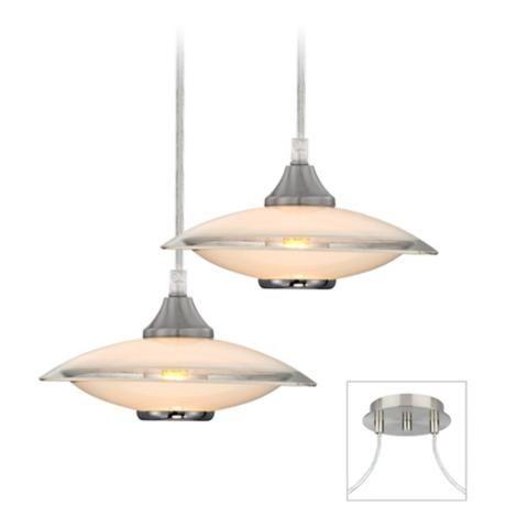 Photo of Possini Euro Brushed Nickel Saucers Double Light Pendant – # 17K64   Lamps plus