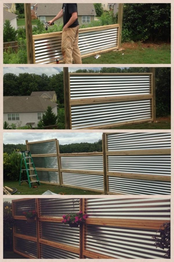 Privacy Screen Made From Sheets Of Galvanized Corrugated Metal By