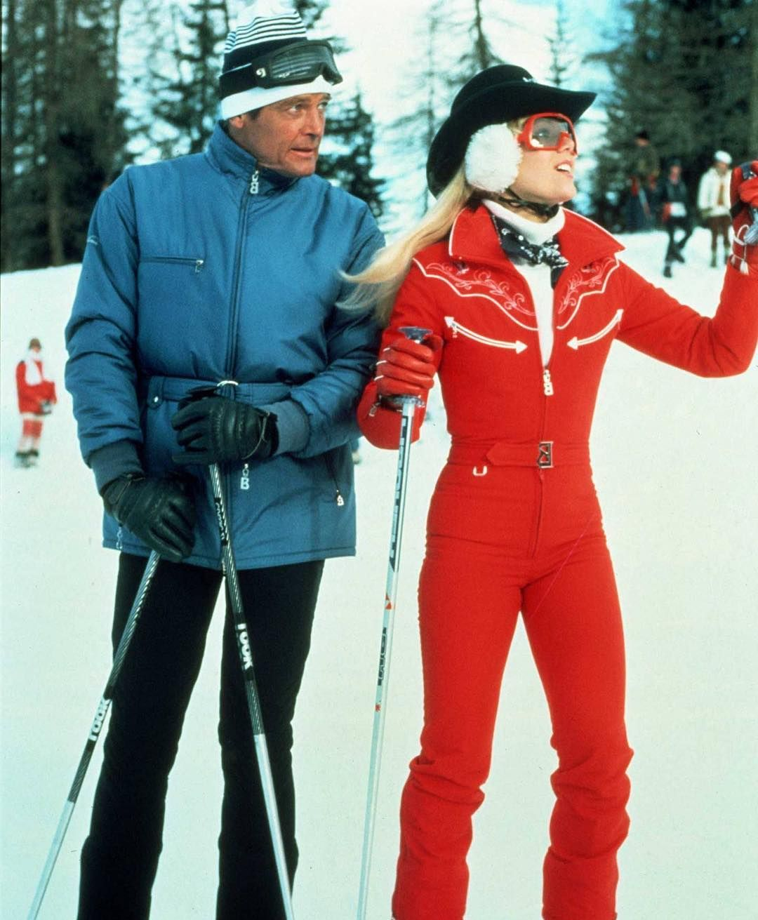 Vintage Peak On Instagram Lynn Holly Johnson With Roger Moore On Set For James Bond 007 For Your Eyes On In 2020 Skiing Outfit Womens Ski Outfits Apres Ski Outfits