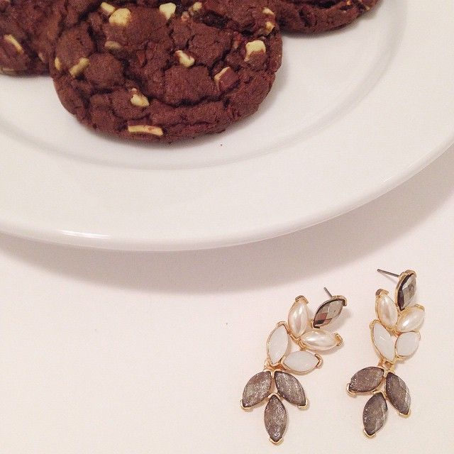 Cookies for Santa, and some sparkle for Mrs. Clause! Petal Leaf Earring $24 sparkleandwhim's photo on Instagram