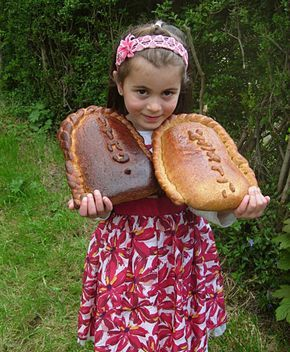 Challahs for Shavous (bread shaped like 10 commandments tablets)