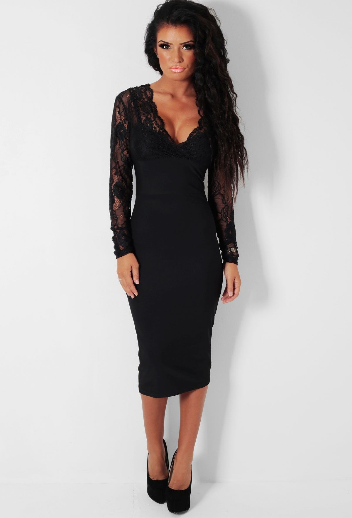 5ab38d56831 Ariana LUXE Black Lace Panel Bodycon Midi Dress - 8