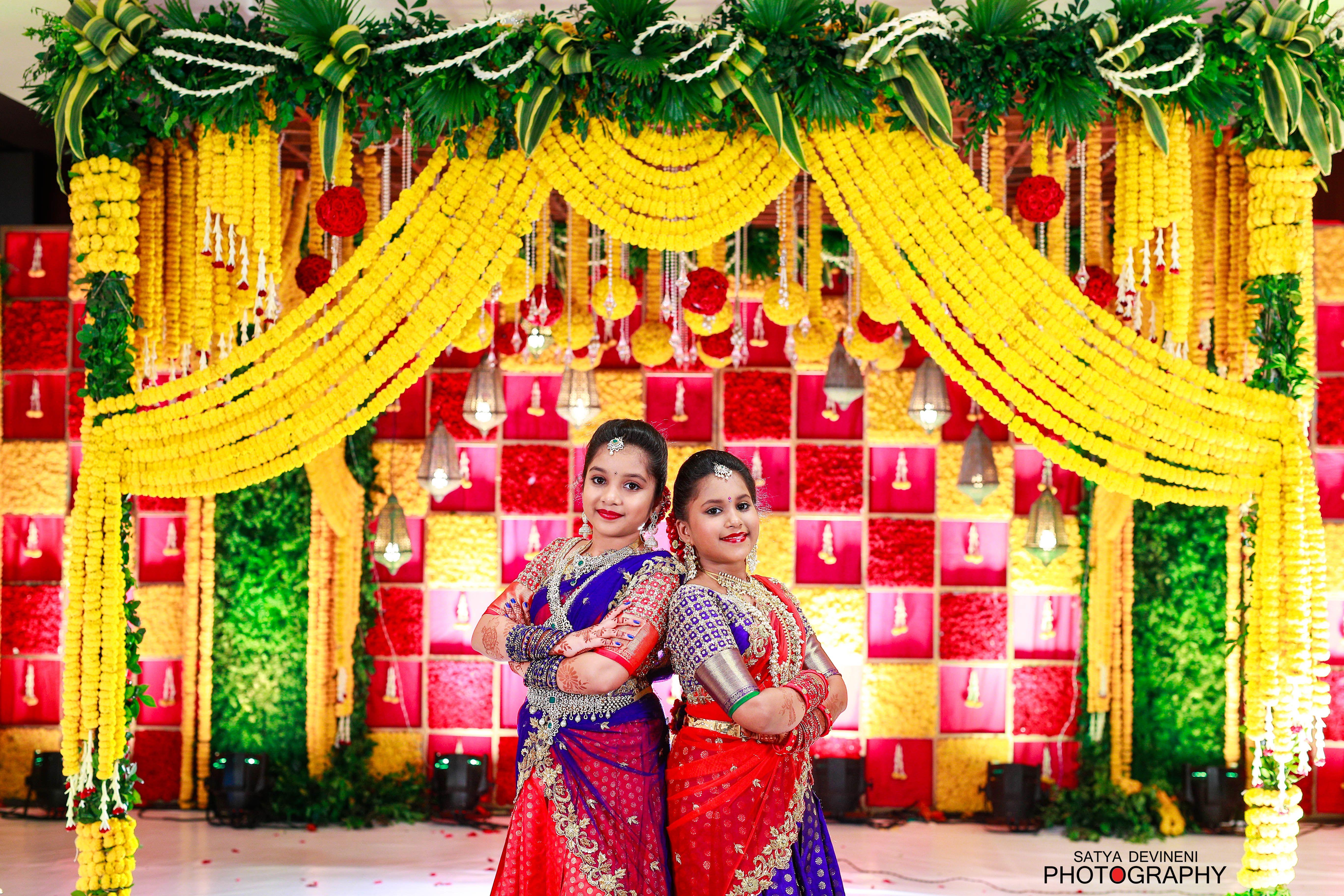 Mehndi Party Saree : Half saree function voni #satyadevineni #photography