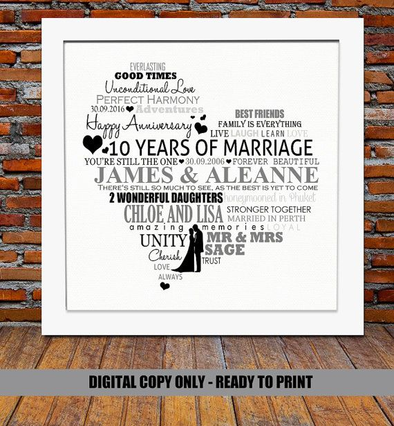 Personalized 10th Anniversary Gift 10 Year Wedding Anniversary Gift 10th W 10th Wedding Anniversary Gift 40th Anniversary Gifts Anniversary Gifts For Parents