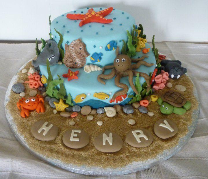 Sea Creatures cake for my nephews Christening Ocean cakes