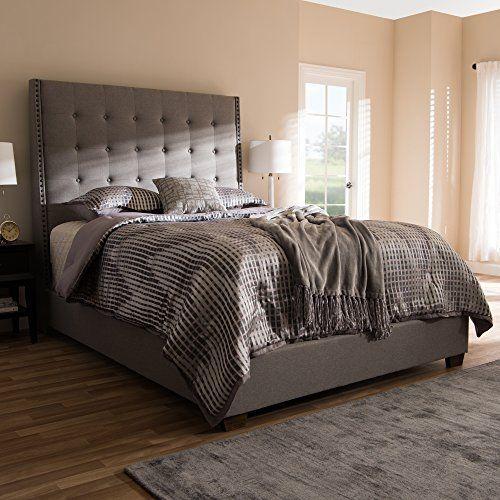 Best Baxton Studio Upholstered Bed In Light Gray Queen 91 14 640 x 480