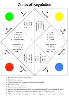 This Is A Cootie Catcher To Be Paired With Zones Of Regulation