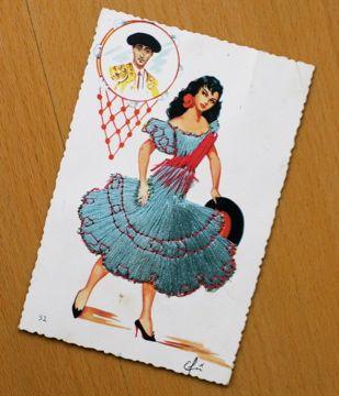 ギャラリーの方に頂きました◎スペインの蚤の市?で買ったという刺繍の入ったポストカード!