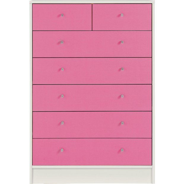 huge selection of 83614 52cb7 Home Malibu Pink & White 5+2 Chest of Drawers   New house ...