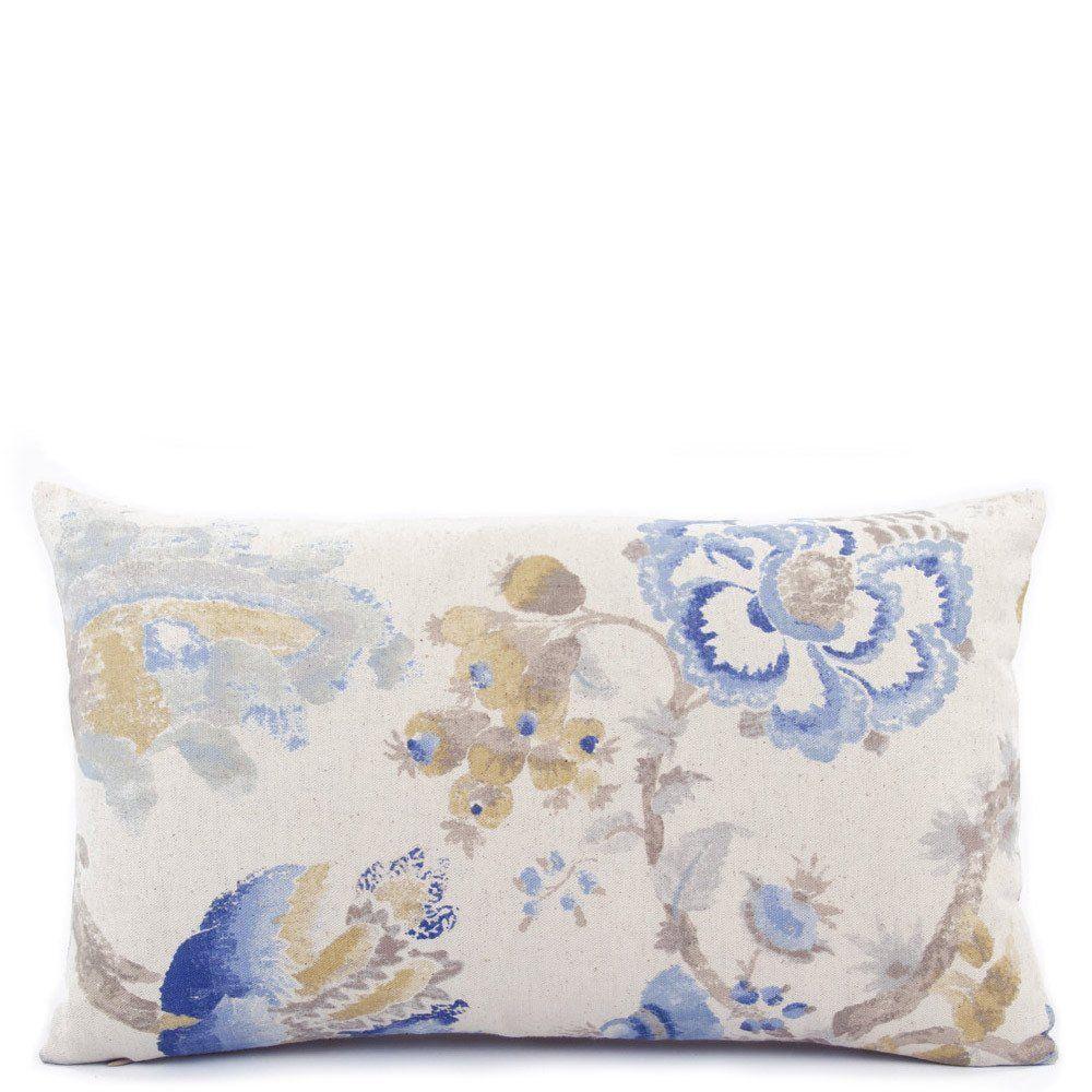 Monet's Garden Decorative Sky Blue Lumbar Pillow - Chloe & Olive