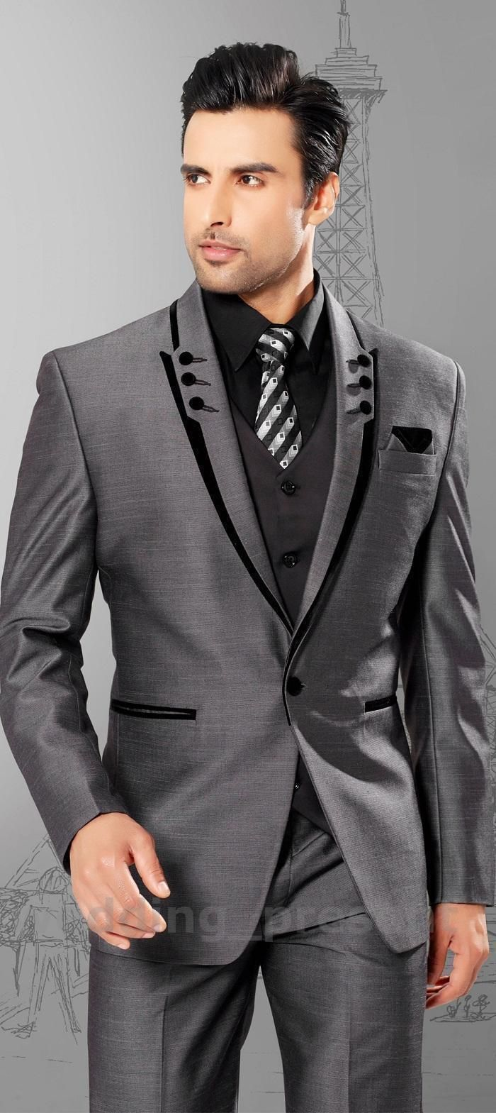 Men Suits Slim Fit Peaked Lapel Grey Groom Tuxedos Mens Wedding ...