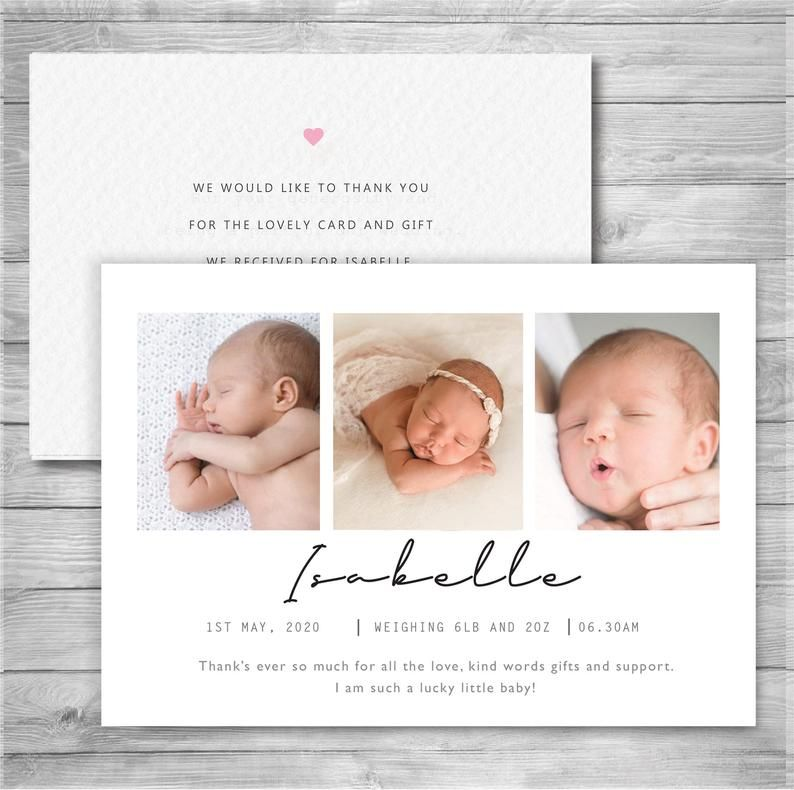 New Baby Thank You Cards Birth Announcement Cards Photo Etsy Baby Announcement Cards Birth Announcement Card Baby Thank You Cards