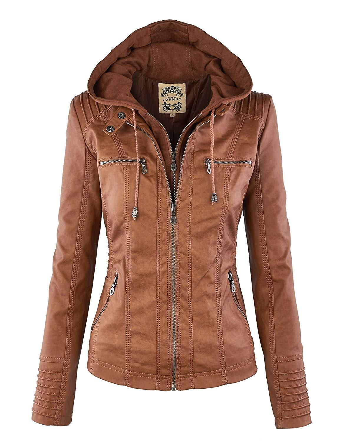 LL Womens Hooded Faux leather Jacket Fashion, Jackets