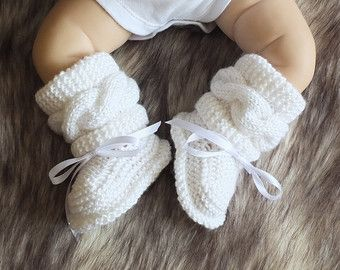 Baby boots Gray booties Knitted baby booties by HandmadebyInese