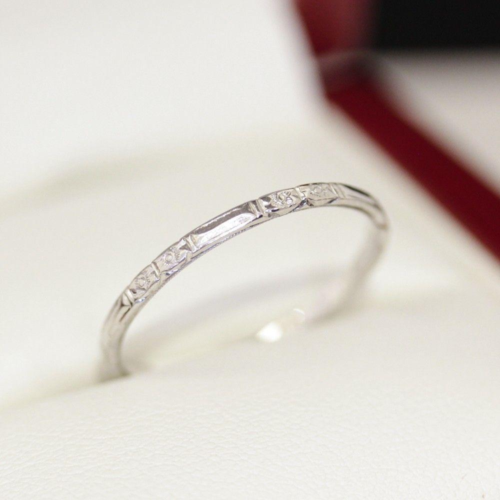 1920 S Antique Platinum Wedding Band Art Deco Engraved Band Antique Wedding Rings Wedding Band Engraving Antique Wedding Bands
