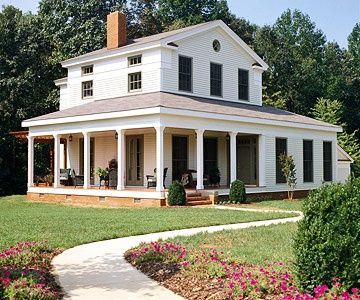 Greek Revival Farmhouse Wood Stone And Bricks