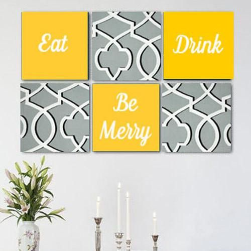 Eat Drink Be Merry Grey White Yellow Wall Art Pack of 6 Canvas Wall ...