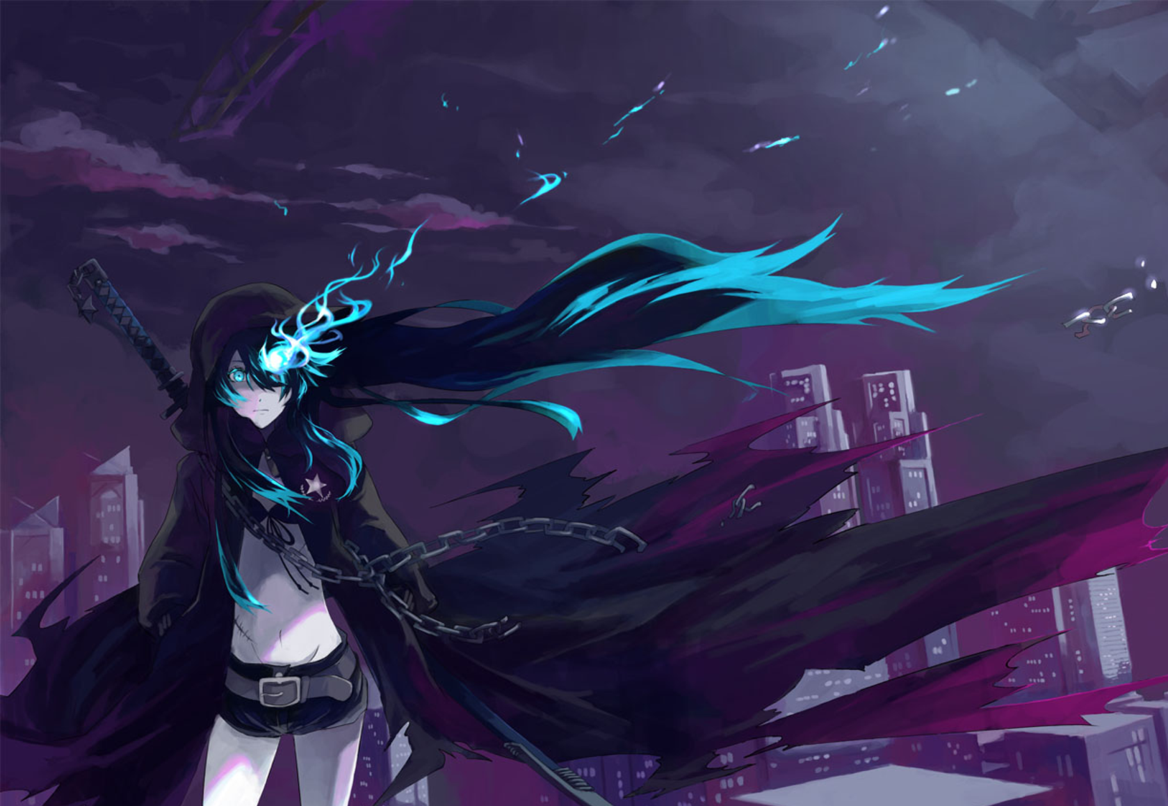 Anime Black Rock Shooter Blue Eyes Long Hair Girl Anime Sword Woman Warrior Blue Hair Wallpaper Anime Papel De Parede Anime Cabelo Preto