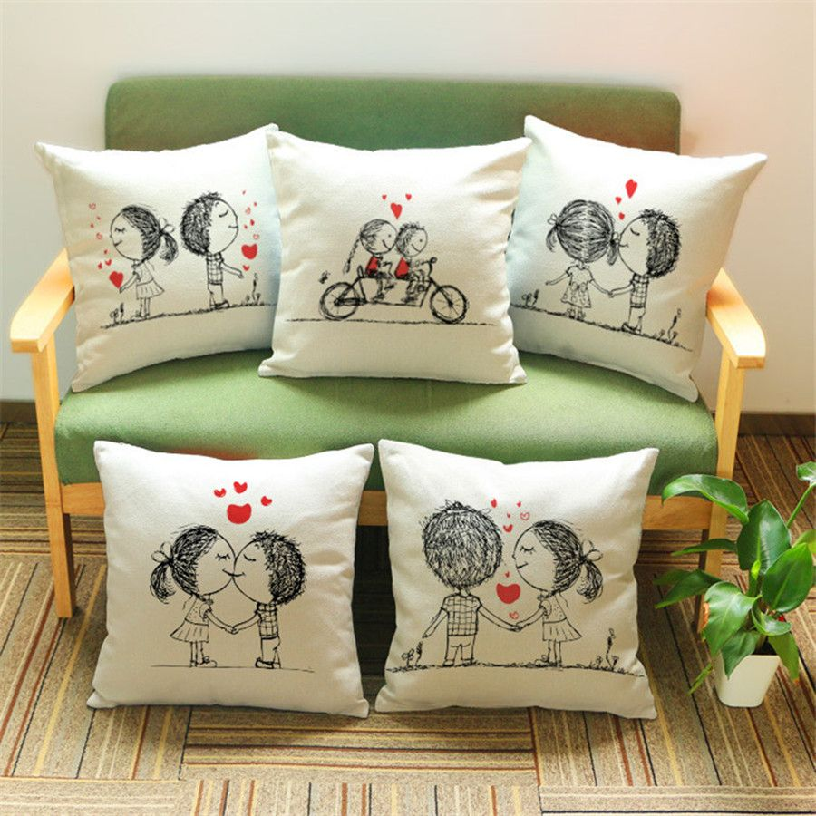 Maiyubo Romantic Lover Couple Pillow Cover Scandinavian Living Room Decor  Pillow cojin 45X45cm Cheap Pillow Case
