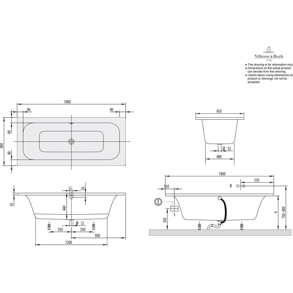 Villeroy Boch Loop Friends Square Duo Uba180lfs2v 01 Megabad Badewanne