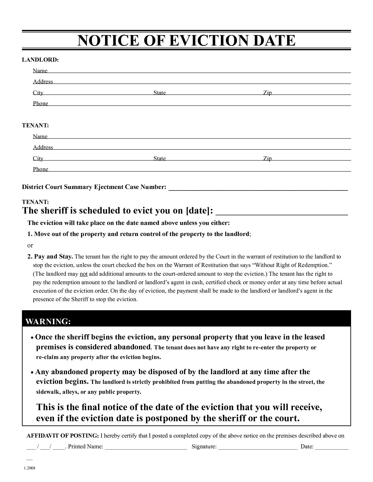 Blank Eviction Notice Form – Legal Forms Eviction Notice