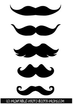 photo relating to Printable Moustaches called Totally free Printable Thick Moustaches Picture Booth Props Free of charge