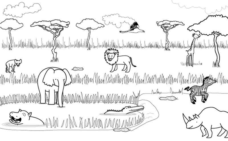 Dibujos De Animales Terrestres Para Colorear E Imprimir: Animales De La Sabana: Dibujo Para Colorear E Imprimir