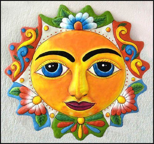 Face of Sun Wall Hanging - Painted Metal Décor - 24\