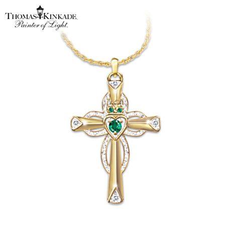 Emerald And Diamond Claddagh Cross Symbolizes Faith And Love Irish Jewelry Cross Pendant Claddagh