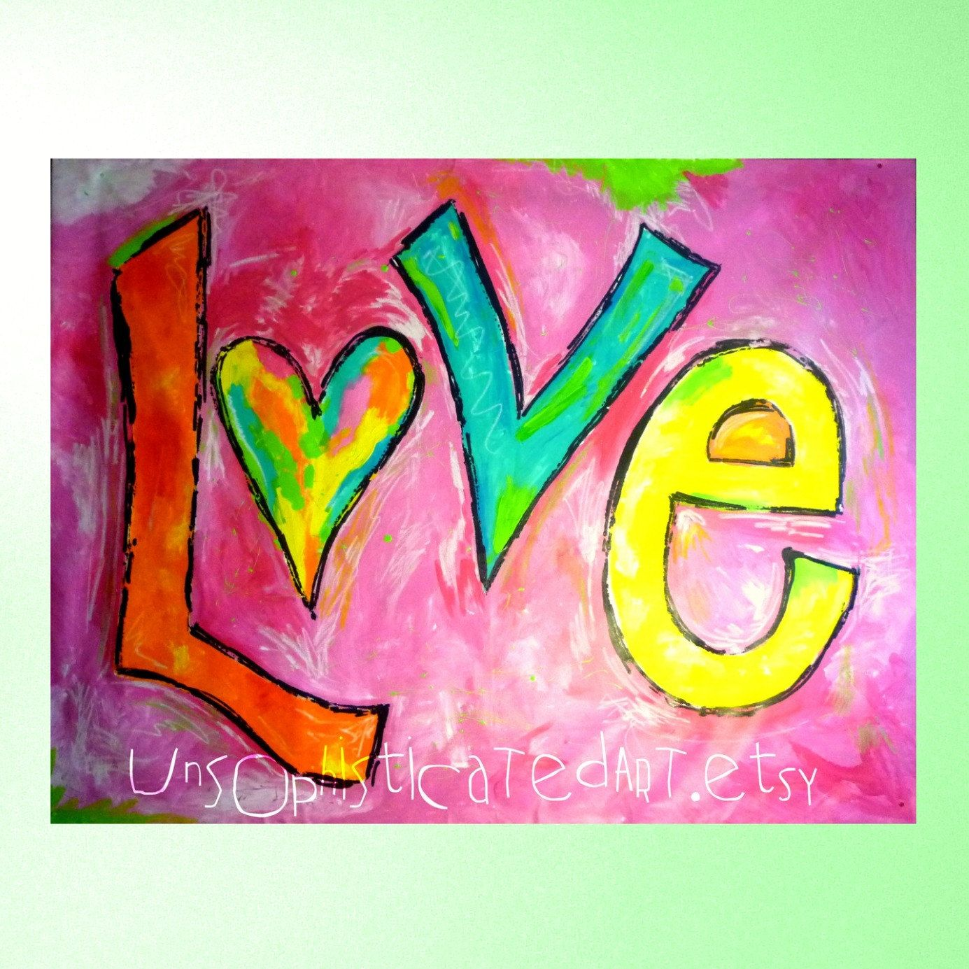 Jumbo LOVE Hand Painted Extra Large Wall Art Mural X 5 Painting For Tween  Teen Bedroom Or Dorm Or Game Room Via Etsy Part 66
