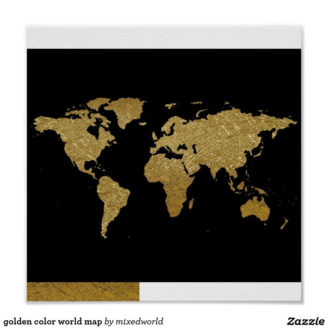 Golden color world map poster gumiabroncs Image collections