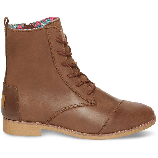 TOMS Brown Leather Women's Alpa Boots ($139) ❤ liked on