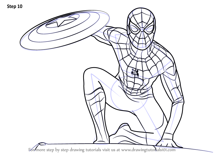 Learn How To Draw Spiderman From Captain America Civil War Captain America Civil War Step By Step Spiderman Drawing Spiderman Coloring Spiderman Sketches