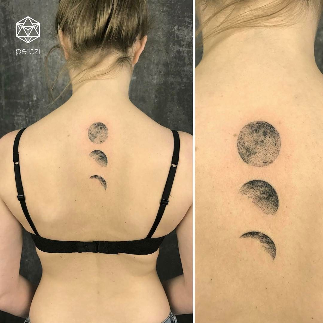 Moon Phases Dotwork Tattoo By Pejczi Polish Tattoo Artist Polish Tattoos Luna Tattoo Tattoos