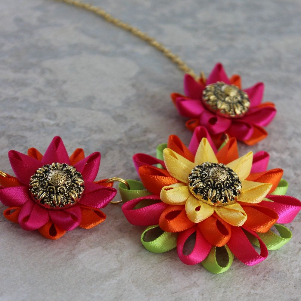 Colorful Necklace Multicolor Necklace Bright Statement Necklace Fuchsia Orange Yellow Gold Lime Green Cinco De Mayo Jewelry