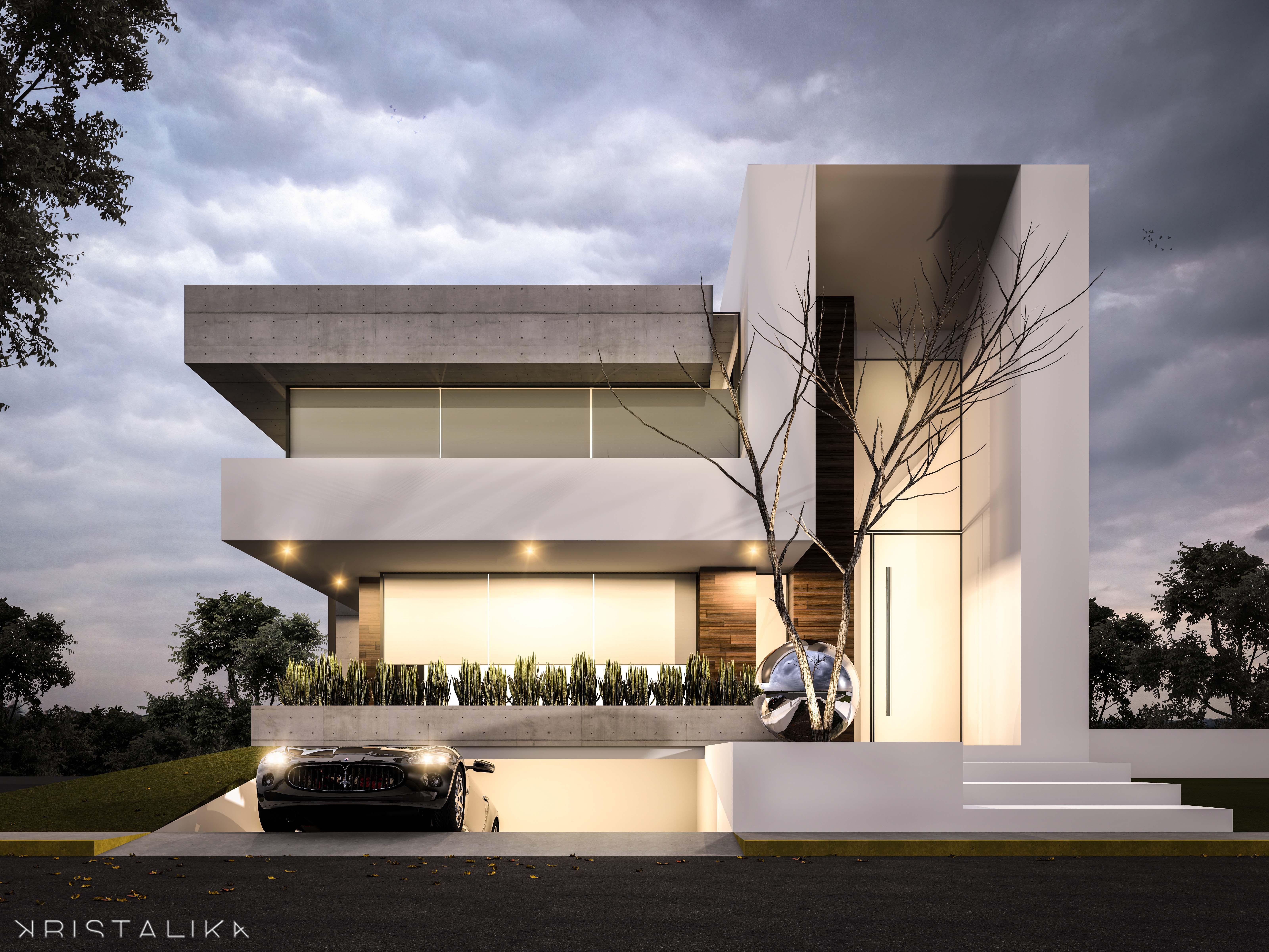 Bosque alto house architecture modern facade for Casa minimalista bosque