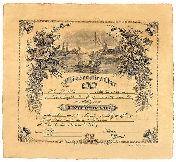 Sentimental Wedding Gift Ideas: Custom Marriage Certificate 1909 Vintage Wedding Rustic