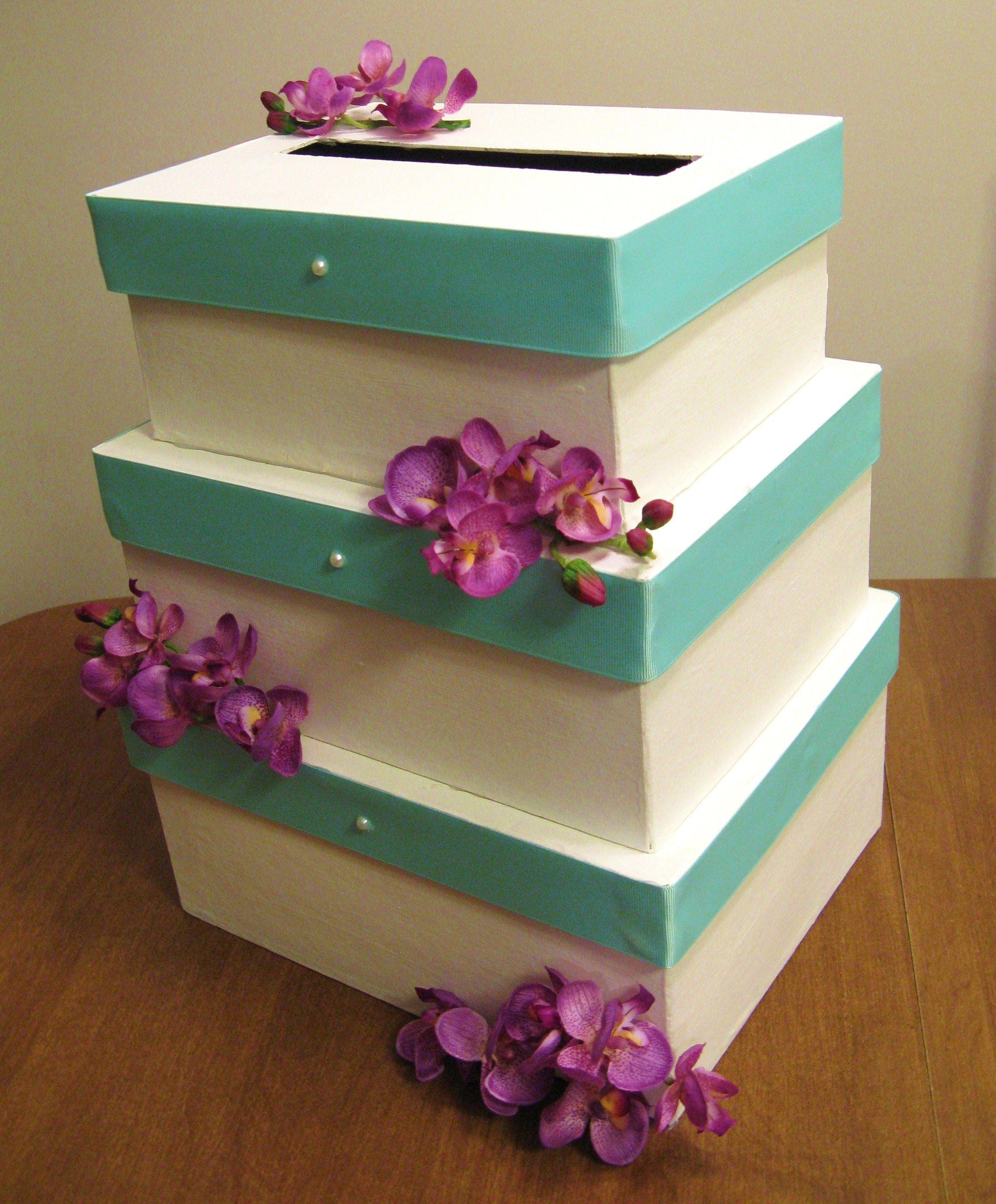 DIY Wedding Cake Card Box Tiffany blue ribbons and fuschia