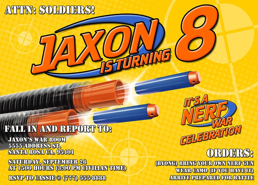 Nerf Birthday Party Invitations | Nerf war, Nerf birthday party and ...