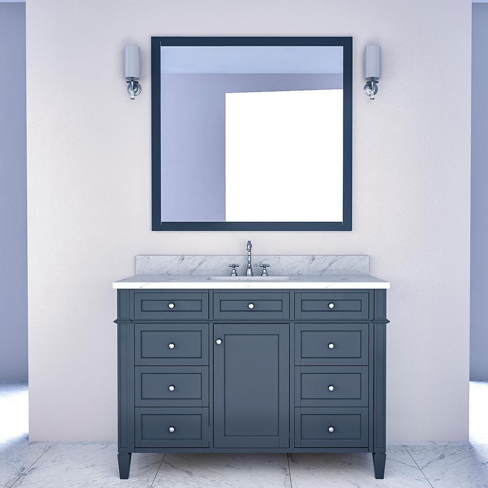 Birmingham 48 In W X 34 In H Bath Vanity In Gray With Marble Vanity Top In White With White Bas Single Bathroom Vanity Lavatory Design Vanity Set With Mirror