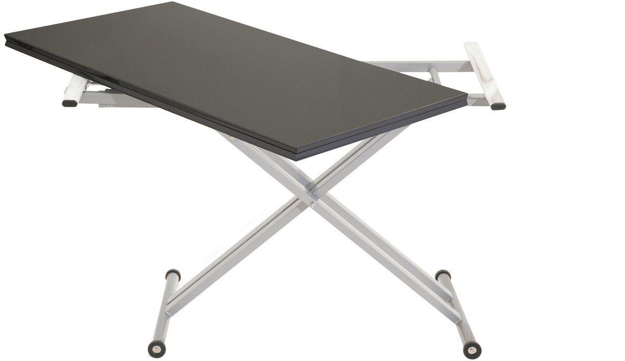 table relevable extensible twister laqué noir   table relevable