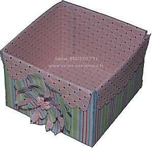 Je vous laisse découvrir une petite boîte en tissu réalisée avec la découpe enveloppe festonnée et sans couture!