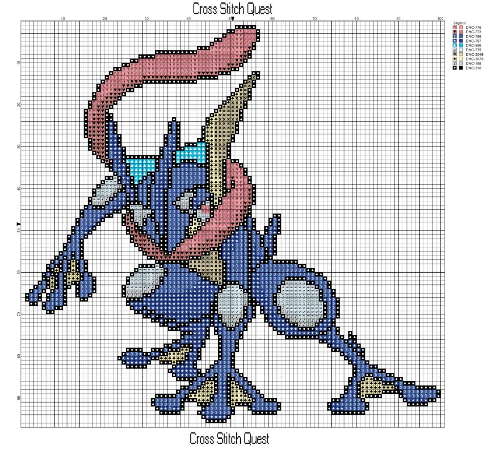 Free Greninja Cross Stitch Pattern Pokemon Pokémon Soleil